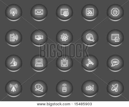 Internet communication web icons, metal circle buttons series