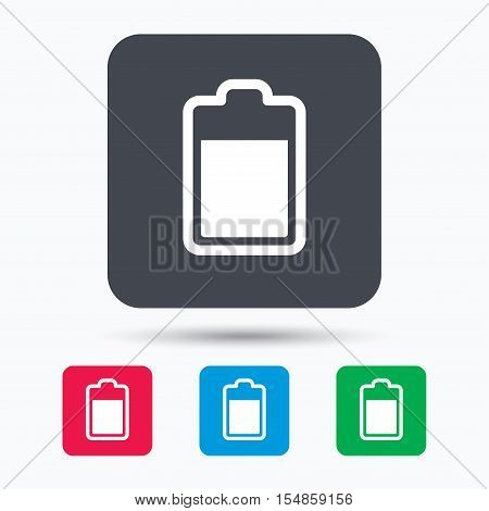 Battery power icon. Charging accumulator symbol. Colored square buttons with flat web icon. Vector