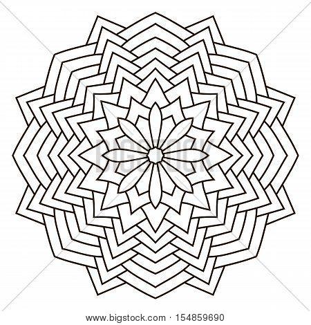 Round outline Mandala for coloring book. Vintage decorative elements