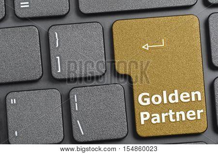 Golden partner key on keyboard