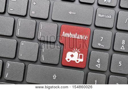 Red ambulance key on keyboard