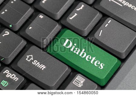 Green diabetes key on keyboard