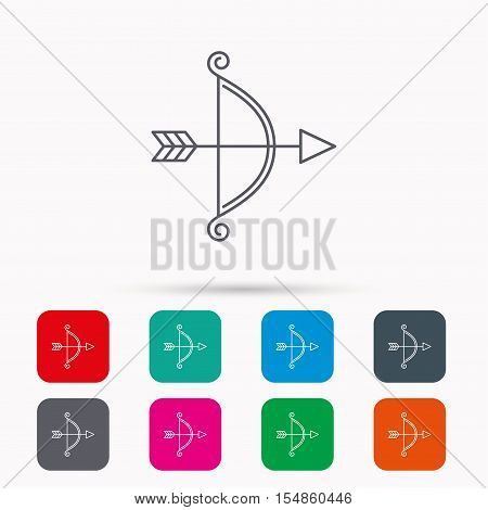 Bow with arrow icon. Valentine weapon sign. Linear icons in squares on white background. Flat web symbols. Vector