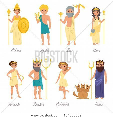 Greek gods. Artemis, Poseidon, Aphrodite, Hades, Hera, Apollo, Zeus Athena Vector illustration Cartoon character Isolated on white background Flat Set