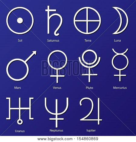 Planet Symbols. vector, astrology, saturn, neptune, jupiter, moon, mars