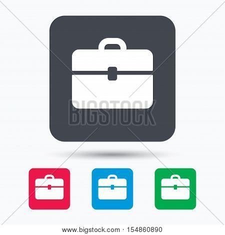 Briefcase icon. Diplomat handbag symbol. Business case sign. Colored square buttons with flat web icon. Vector