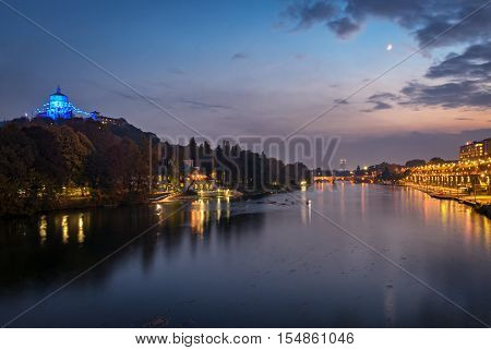 Turin (Torino) scenic view on river Po at twilight