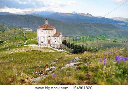 Small Chapel Near Rocca Calascio Castle At Summer Sunset
