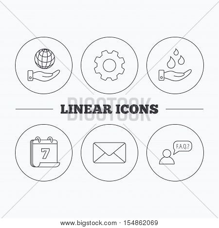 Mail, save water and faq speech bubble icons. Save planet linear sign. Flat cogwheel and calendar symbols. Linear icons in circle buttons. Vector