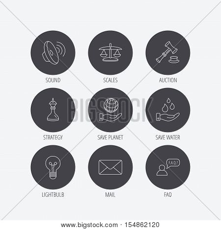 Strategy, auction and scales of justice icons. Save planet, water and lamp lightbulb linear signs. Faq and law hammer flat line icons. Linear icons in circle buttons. Flat web symbols. Vector