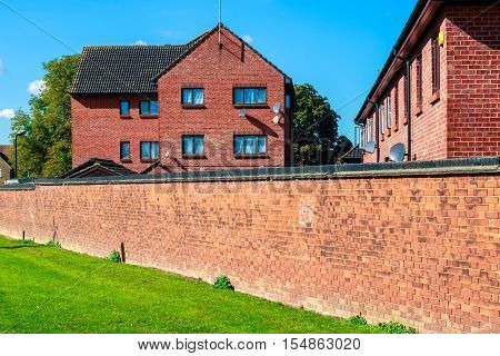 English red brick block of flats for concept use