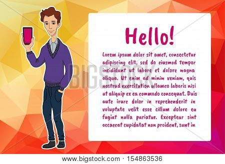 Banner with business people. Vector character with bubble talk and mobile. Vector quote for colorful web banners, web sites, printed materials, infographics, startup, marketing. Guy says - hello