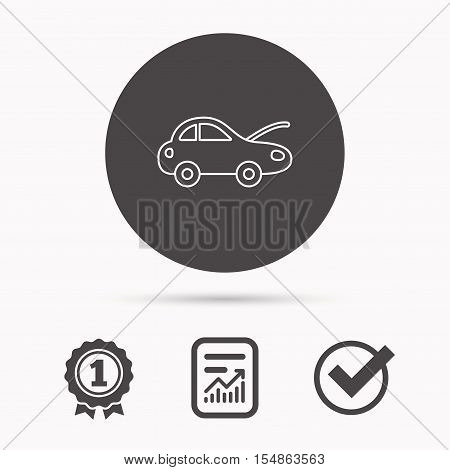 Car repair icon. Mechanic service sign. Report document, winner award and tick. Round circle button with icon. Vector