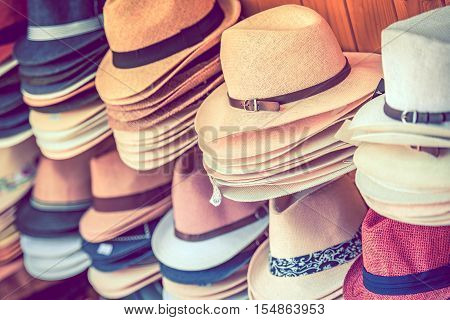 Stylish Summer Hats Shopping. Many Colorful Hats Store Rack.