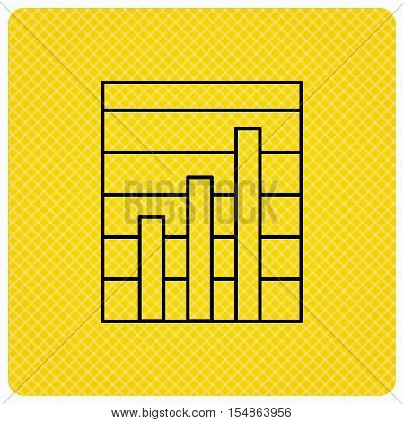 Chart icon. Graph diagram sign. Demand growth symbol. Linear icon on orange background. Vector