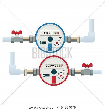 Automatic cold and hot water meters. Flat vector icon. Household or industrial measuring equipment for residential or commercial building.