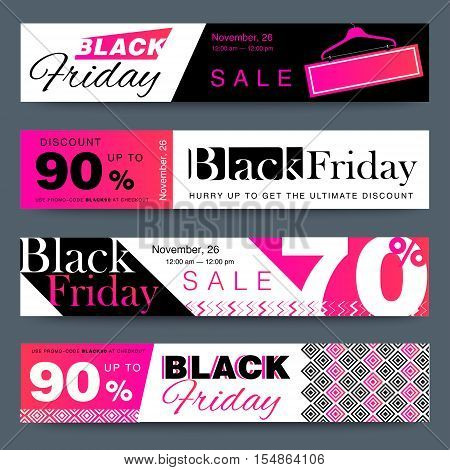 Black Friday Creative Social Media Sale Web Banners Design For Online Shop Or Store. Trendy Geometri
