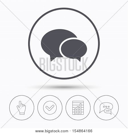 Chat icon. Speech bubble symbol. Chat speech bubbles. Check tick, report chart and hand click. Linear icons. Vector