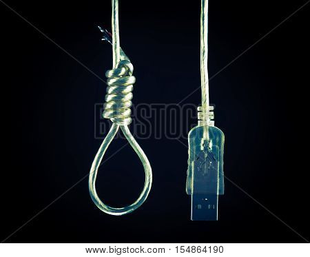 Technology Suicide Concept. USB Cable Suicide by Hanging Concept Photo.