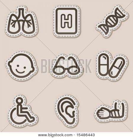 Medicine web icons set 2, brown contour sticker series