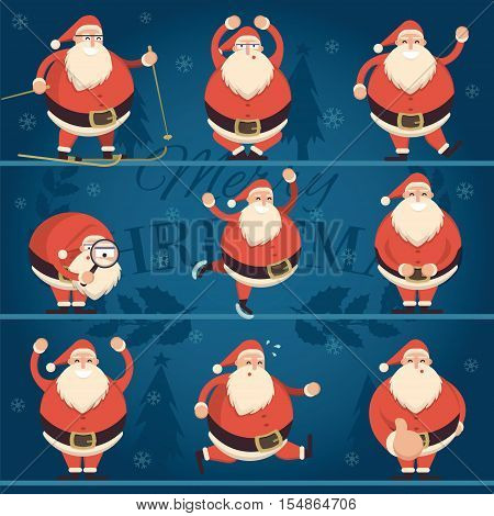 Cartoon Santa Claus in various poses collection. Cheerful Father Frost character run sit ski skate laugh smile show thumb up dance with hands up. Vector illustration