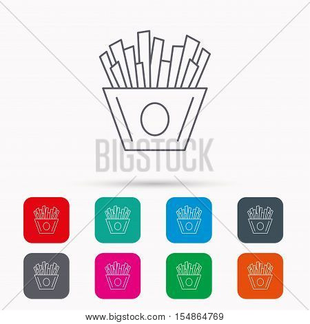 Chips icon. Fries fast food sign. Fried potatoes symbol. Linear icons in squares on white background. Flat web symbols. Vector
