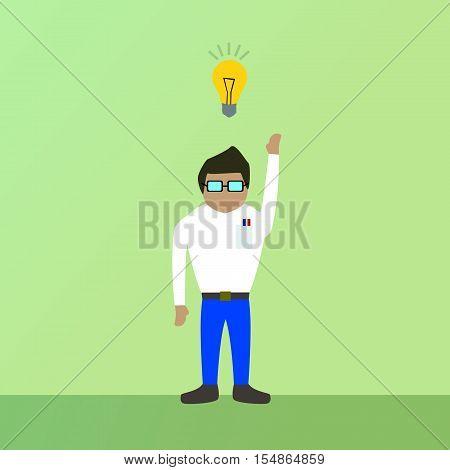Ilustração de um personagem tendo uma ideia.