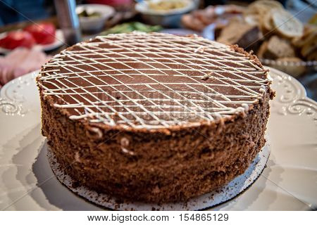 chocolate cake on dinner table for clebration