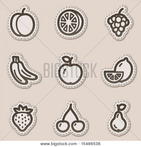 Fruits web icons, brown contour sticker series