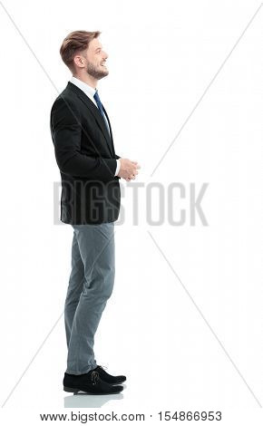 Side view of a smiling businessman standing , On white background