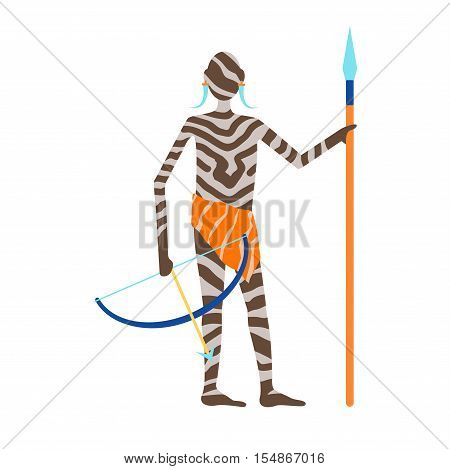Maasai african man hunter in traditional clothing happy person vector illustration. African people image old art. African people ethnic men