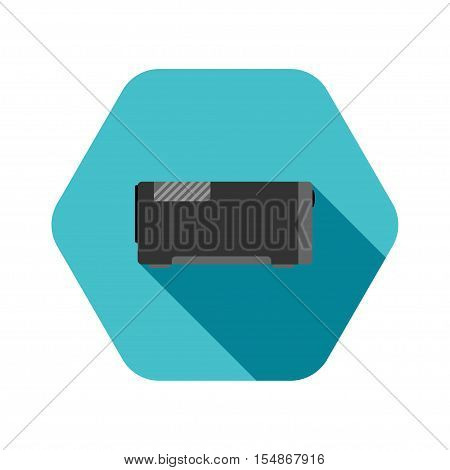 Vector icon of uninterrupted power supply on hexagon turquoise background.
