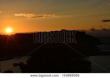 coucher de soleil sur Collioure; Pyrénées; France