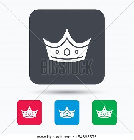Crown icon. Royal throne leader symbol. Colored square buttons with flat web icon. Vector