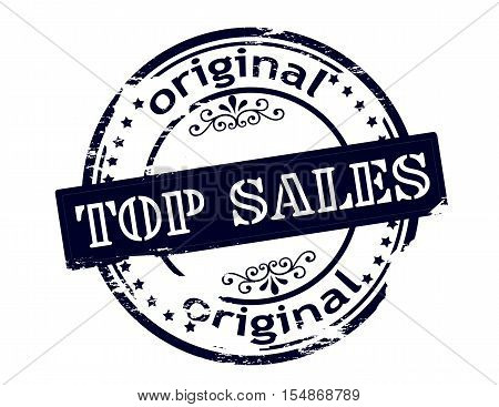 Rubber stamp with text top sales original inside vector illustration