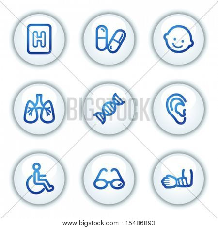 Medicine web icons set 2, white circle buttons series