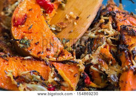 Vegetarian Baked Dish Close-up With Pumkin, Vegetables, Herbs, Cheese