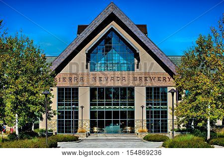 FLETCHER NC October 15 2016 - Sierra Nevada Brewery on sunny day with clear blue sky