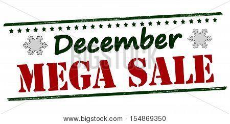 Rubber stamp with text December mega sale inside vector illustration
