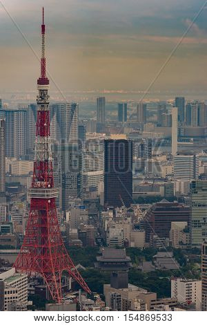 Tokyo Japan - September 26 2016: Aerial view since shot off Observatory tower. The red Tokyo tower stands out among the multitude of highrises. Zojo-ji Buddhist Temple is its neighbor.