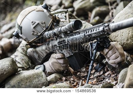 United states army ranger sniper in the forest