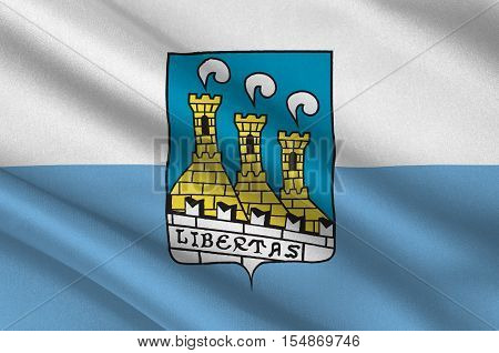 Flag of City of San Marino is the capital city of the Republic of San Marino. 3d illustration