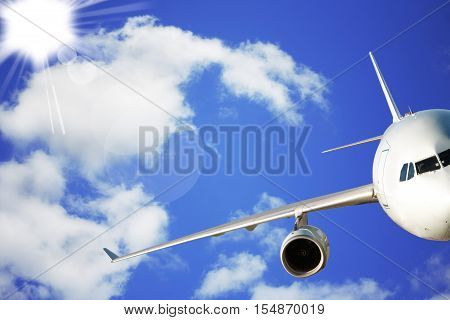 Passenger airplane in the clear sky close-up