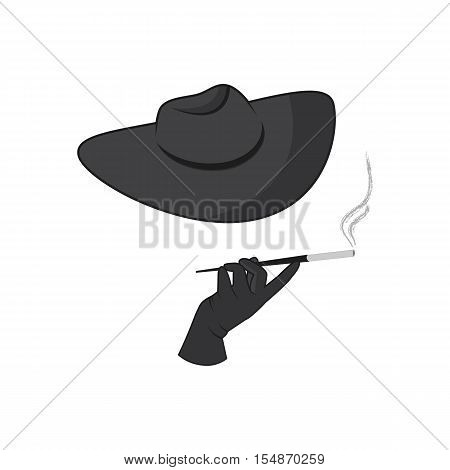 Female hand with a cigarette in the mouthpiece. The unknown lady with a hat in a mafia-style.