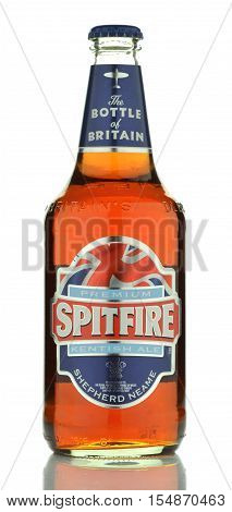 CIRCA SEPTEMBER 2016 - GDANSK: Spitfire beer isolated on white background. It is brewed in Shepherd Neame which is English independent regional brewery founded in 1698 in Faversham, Kent.