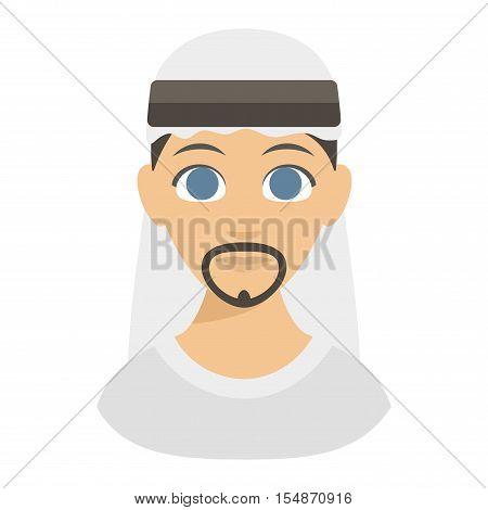 Muslim religious man traditional islamic adult. Cute cartoon arabic boy traditional dress ethnicity religious people. Arabic man ethnic portrait
