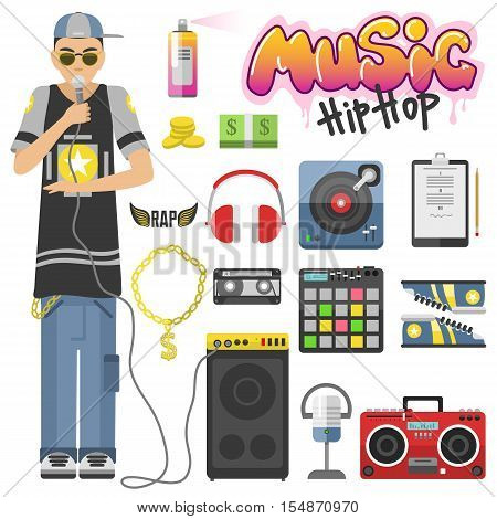 Rap hip hop singing breakdance music icons set isolated vector illustration. Design music sign style hip hop symbols. Street art rap graphic hip hop symbols grunge microphone culture.