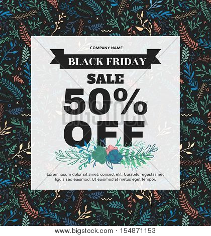 Banner Black Friday made of different floral elements in boho style. Poster with a sellout for shop, beauty salon, spa.