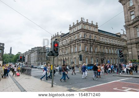 Edinburgh, Scotland - 16 July 2016 - View Of Princes Stree With Walking Peoplet. On 16 July 2016 In