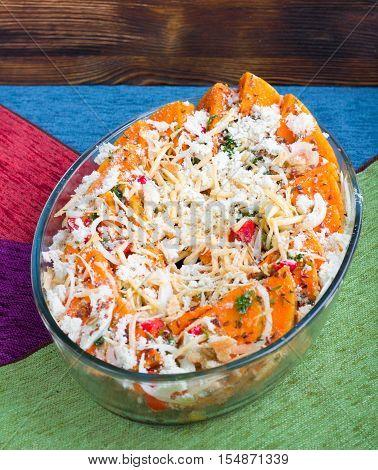 Vegetarian Mixture Of Pumkin, Vegetables, Herbs And Cheese